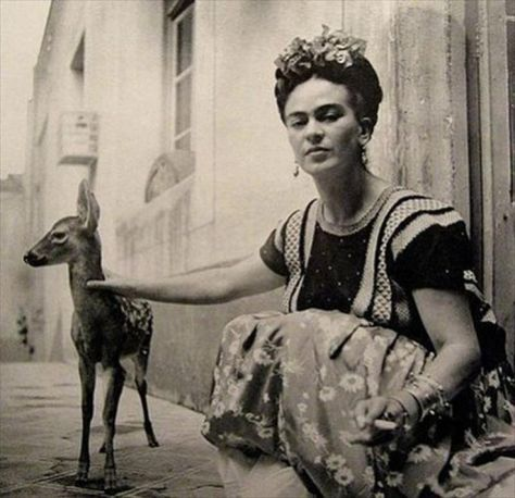 Frida Kahlo and her pet deer, Granizo, 1939