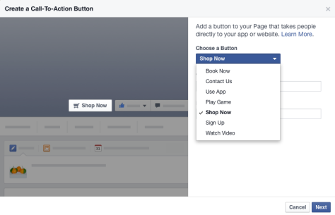 New: Add a *SHOP NOW* Call-To-Action Button to Your Facebook Page