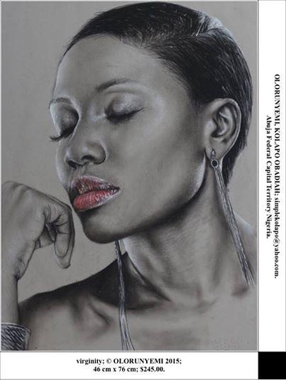 """Virginity"" by Kolapo Obadiah Olorunyemi of Abuja, Nigeria. Fine point pen on paper.76cm x 46cm"