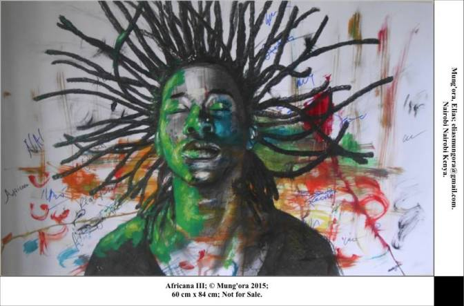 """""""Africana III"""" by Elias Mung'ora of Nairobi, Kenya, Charcoal and watercolours on ivory paper, 60cm x 84cm"""
