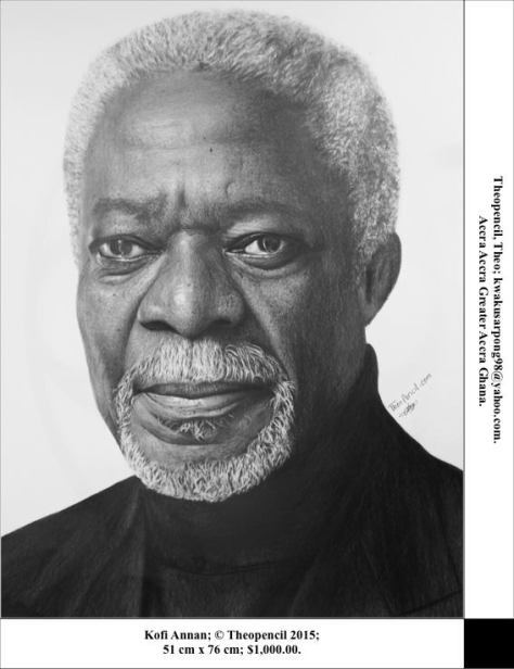 """Kofi Annan"" by Theopencil ( Theophilus Boateng Kwaku Sarpong ) of Accra, Ghana. Pencil on paper, without frame. 51cm x 76cm. USD 1,000."
