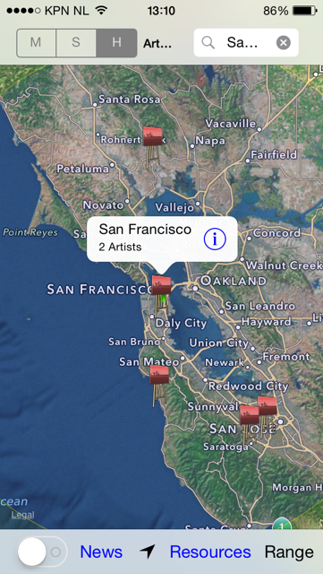 Map view of the ArtWorld app showing locations of the studios of artists using the app