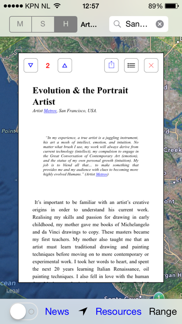 iPhone view of the ArtWorld Community Magazine
