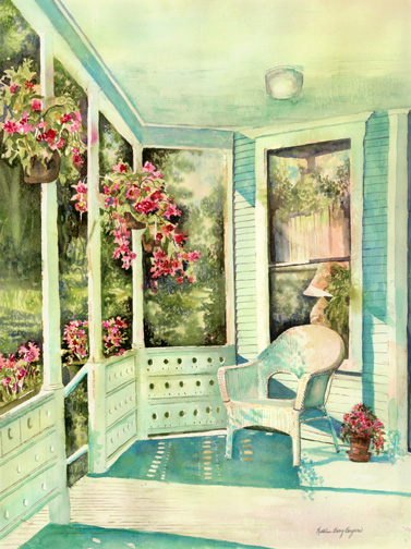 The Porch at Sinclair Towers, watercolor painting, Kathleen Berry Bergeron