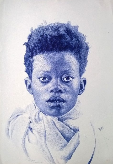 Portrait, ballpoint pen ink drawing, Enam Bosokah, Ghana