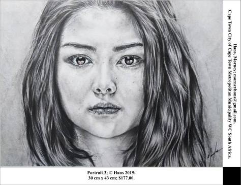 Portrait 3, Morney Hans of Cape Town, South Africa, Pencil on Paper, 30c x 43cm, USD $177