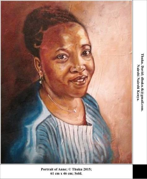 Portrait of Anne, David Thuku, Nairobi, Kenya, oil painting on canvas, 61 x 46cm
