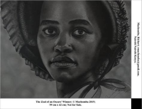 The Zeal of the Oscars' Winner, Richard Machomba, Nairobi, Kenya. Pencil on Paper. 59cm x 42cm