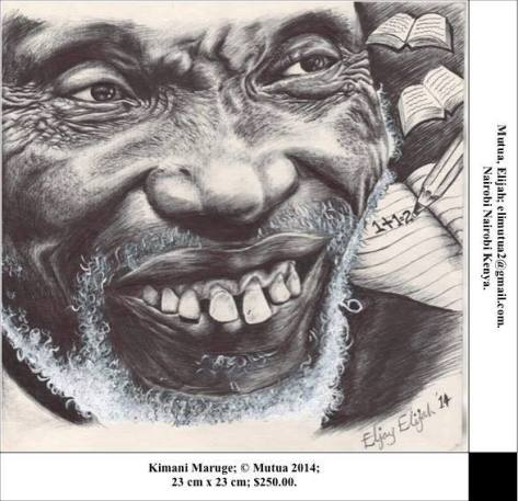 Kimani Maruge, Elijah Mutua of Nairobi, Kenya, Fine point pen on paper, 23cm x 23cm, USD $250