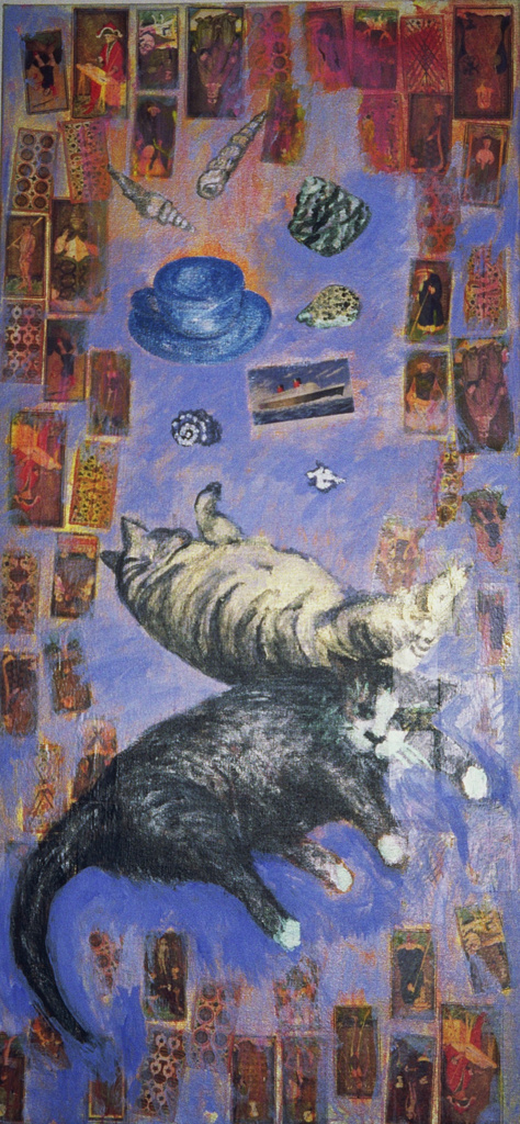 Cats & Cards, mixed media painting + collage, Nina Hellman