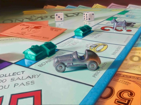 Monopoly, oil painting, Doug Bloodworth