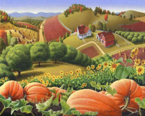 Appalachian Pumpkin Patch, oil painting, Walt Curlee