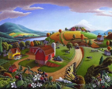 Blackberries Rural Farmland Panorama, oil painting, Walt Curlee