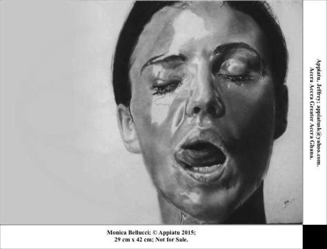 """Monica Belluci"", 29 cm x 42 cm. 2015, Charcoal and graphite, Jeffrey Appiatu, Accra, Ghana, Africa"