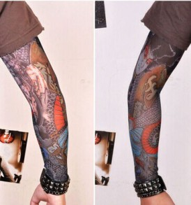 Temporary Tattoo Printed Japanese YAKUZA Long Mesh Sleeve Biker Arm Sleeves $18.00