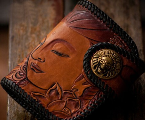 Buddha Buddhist Cowskin Skin Leather Carving Patterns Wallet. Hand made wallet ships within 3-4 day, via DHL with free shipping