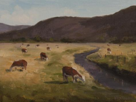 Valley Cows, painting by Nora Egger