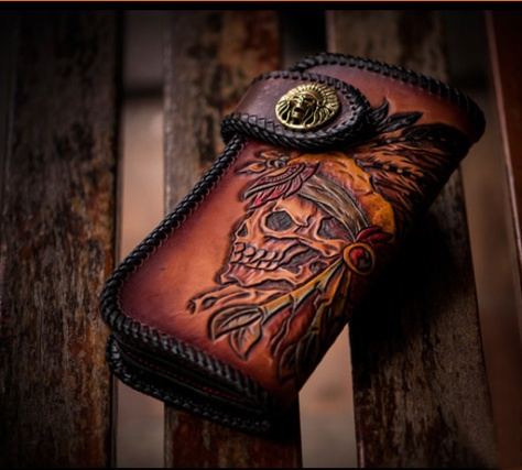 Hand Carved Traditional India Warrior Skull Tanned Leather Wallet $130.00
