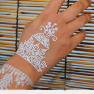 Temporary Henna Flower Metallic Sliver Girls Makeup Tattoo Transfer Arms Set