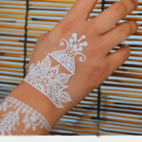 Temporary Henna Flower Metallic Sliver Girls Makeup Tattoo Transfer Arms Set