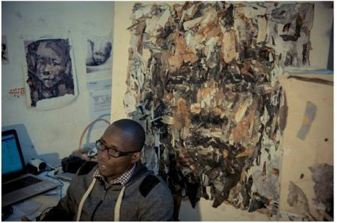 In the studio of contemporary African artist Benon Lutaaya, one of the subjeects of Lioda Conrad's portrait series