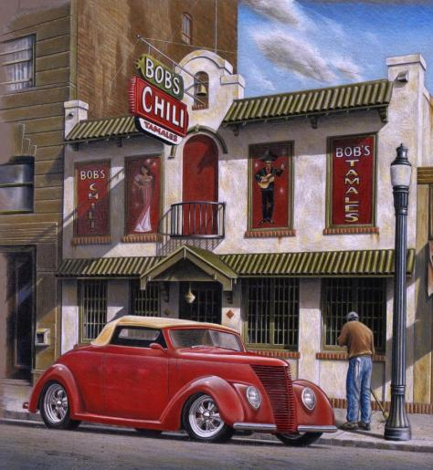 "This colored pencil drawing is of an actual restaurant in Spokane, Wa. back in the 1940's and 50's is beautifully framed with conservation matting and framing. The framed size is approx. 32"" high x 29 1/4"" long."