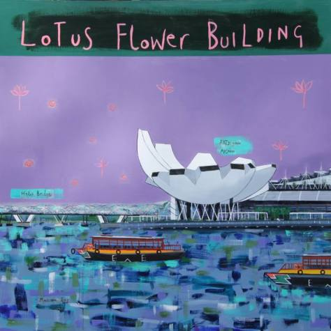 Clare Haxby's Lotus Flower Building is a painting of Singapore's Art & Science Museum