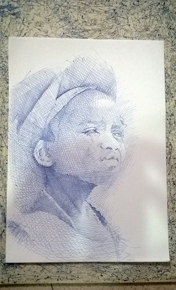 Early stage of Enam Bosokah blue ballpoint ink pen portrait