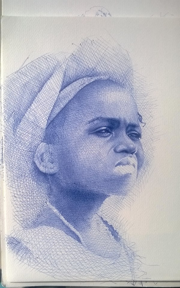 Enam Bosokah portrait in progress