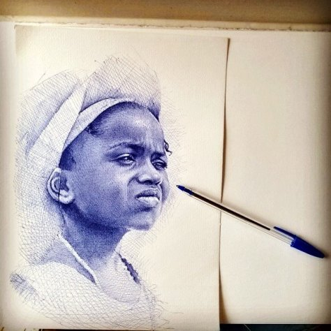 Enam Bosokah ink drawing portrait