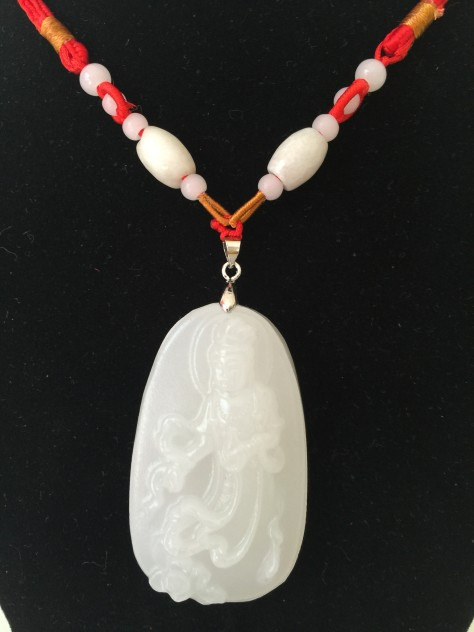 Feng shui Jade Pendant Guanyin in a White Flowing Robe