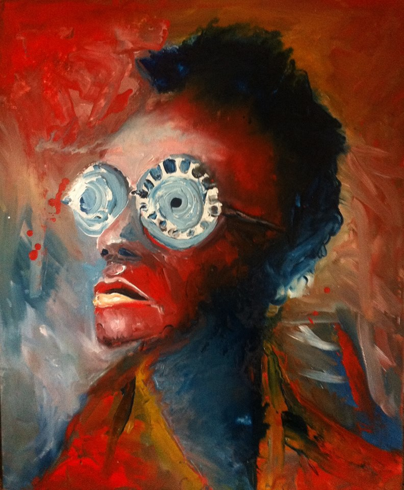 Cyrus Nganga Kabiru and his eclectic eyewear, oil painting, Lioda Conrad