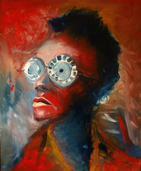 Cyrus Nganga Kabiru and his eclectic eyewear, oil painting, Lioda Conrad
