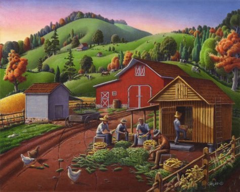 Shucking and Storing the Corn in the Corncrib Giclee Print on Paper by Walt Curlee