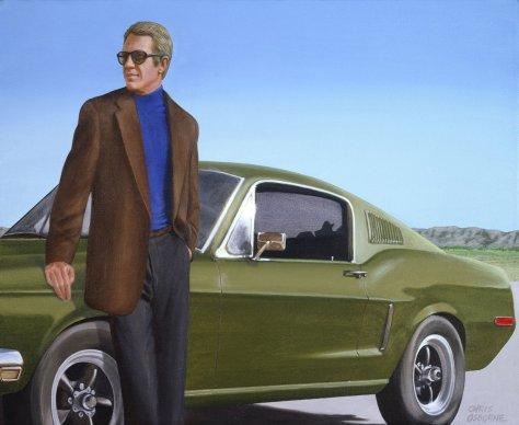 Steve McQueen & 1968 Mustang Gt by Chris Osborne