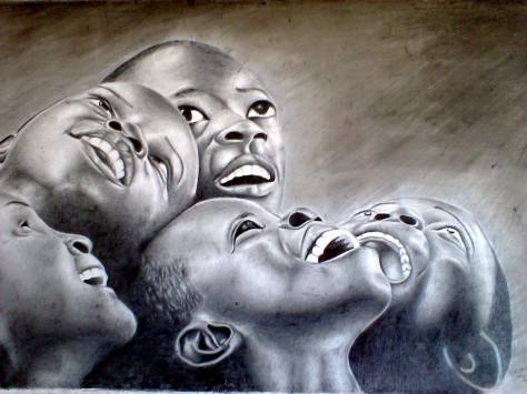 Vulnerable Wealth Series, 62 cm x 95 cm. 2015, Pencil on cover board . NOT FOR SALE. Nicholas Nikomambo, Kisumu Kenya, Africa