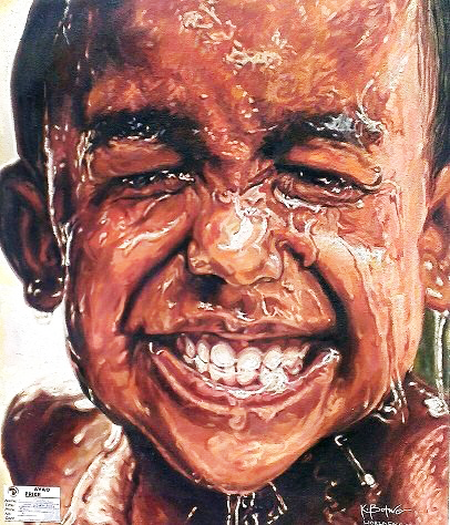 """""""WATER BOY"""", 24 in x 23 in. 2014, Acrylic painting on Canvas,  Kwesi Botchway, Accra, Ghana, Africa"""