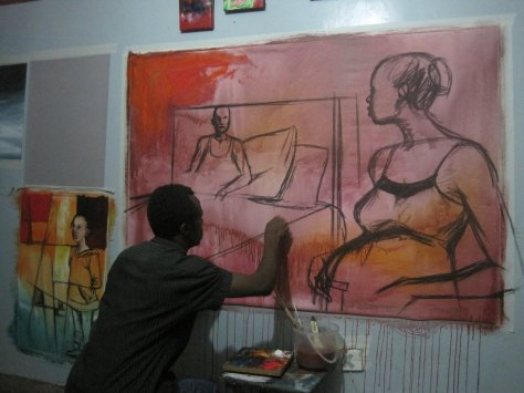 David Thuku in his studio