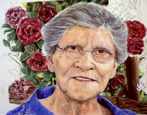 "Lynette Swanepoel pastel portrait, "" This is a portrait of my mother-in- law, I am busy with, she loved roses and always pruned the rosebush before spring. She has died and this is a tribute to her."""