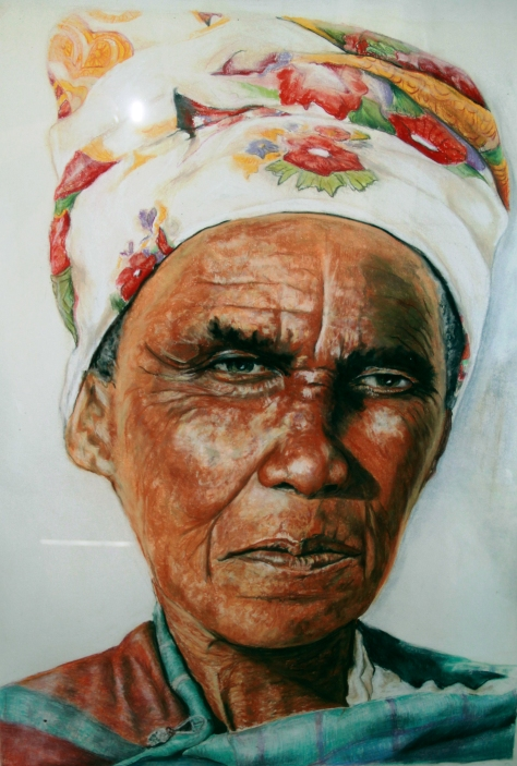 "Lynette Swanepoel describes this portrait, ""The Old lady has an aristocratic air about her, being a very simple person leading a life i n rural area , she still shows a lot of pride and strength in character."""