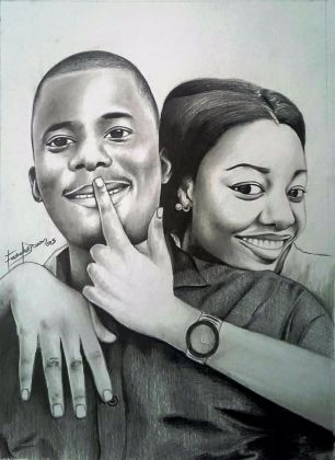 Gideon Fasola's pencil portrait of young couple