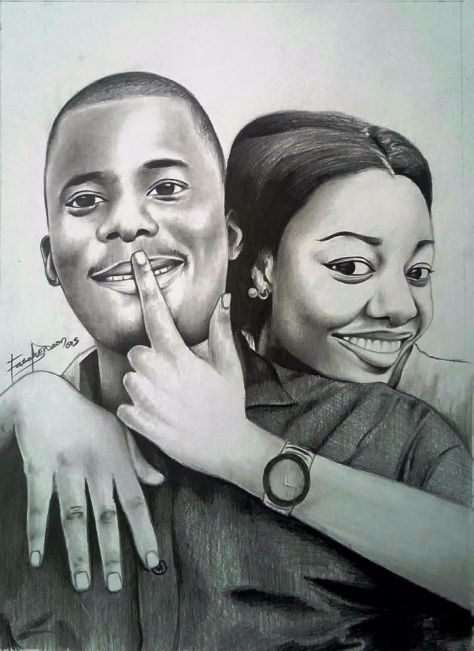 Gideon Fasola's pencil portrait of young couple