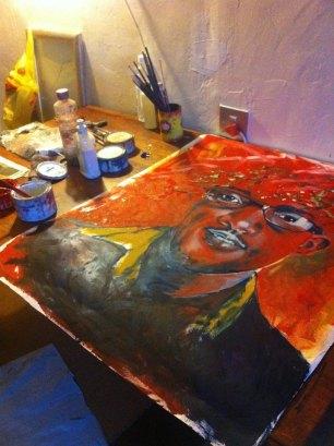 Lioda Conrad portrait painting in progress