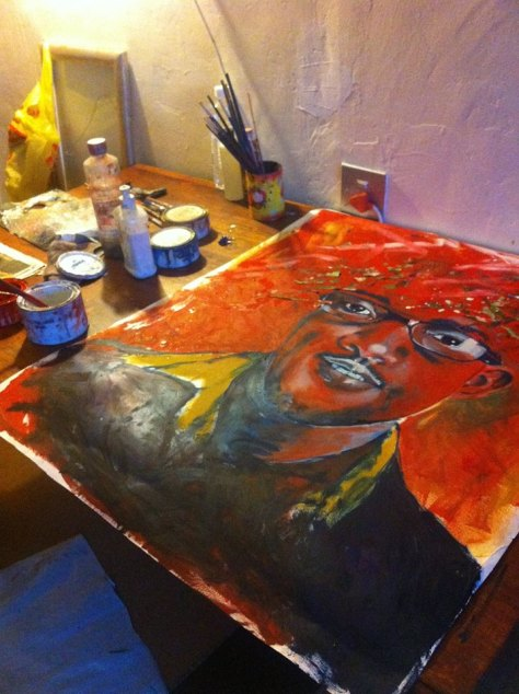Lioda Conrad portrait painting in progress