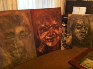 Canvas portrait art in Lioda Conrad's South African studio