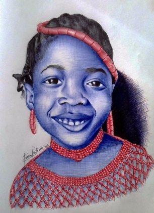 My Princess, red, blue, black ballpoint pen drawing by Gideon Fasola