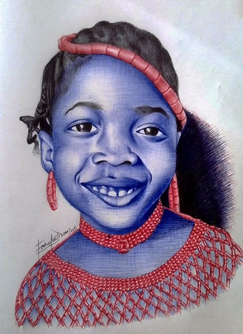 My Princess, red, blue, black ballpoint pen drawing by Gideon Fasola