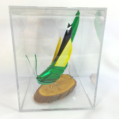 The Sage, green and yellow grasshopper sculpture