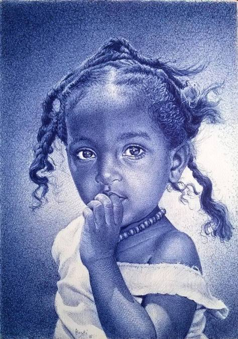 portrait of pretty little girl by Enam Bosokah