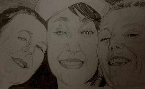 Kwesi Botchway portrait drawing of 3 ladies